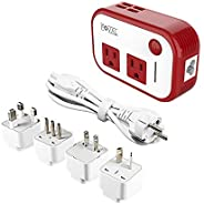 FOVAL Power Step Down 220V to 110V Voltage Converter with 4-Port USB International Power Travel Adapter in UK