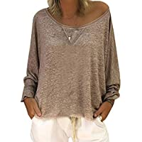 Frauen Sexy Herbst Lose Rundhals Langarm Tops Bluse Casual Jumper T-Shirt S-4XL