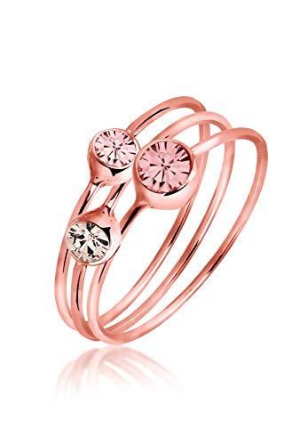 Elli Damen-Stapelring Ring bunt Basic rosévergoldet 925 Silber Swarovski Kristall Brillantschliff rosa Gr. 60 (19.1) - 0603921115_60