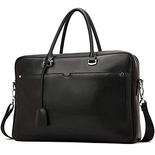 Herren Aktentasche Leder Laptoptasche 15.6 Zoll Groß Kapazität Arbeitstasche Messager Tasche Reisetasche Schwarz -
