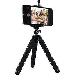 Rollei Selfie Mini Tripod - Treppiede Piccolo per Fotocamere Digitali, ActionCam e Smartphone - Portata max.: 1,2 kg - Nero