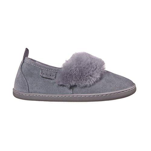 Vanuba cormo - pantofole da donna artigianali, in pelle naturale, lana di pecora al 100%, scarpe da casa calde e confortevoli (40 eu, grigio (grey))