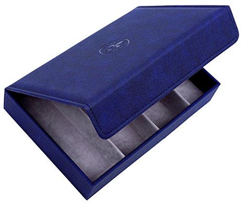 Brillenbox Mehrbrillenetui Brillenetui für bis zu 4 Brillen Quartett washed linen (schwarzblau) Größe 246x175x51mm robust & edel !