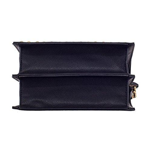 Honeymall ricamato piccolo Borsa a Tracolla Borse a Spalla Donna borsa del Tote Vintage rimontabile Cinghie Borsa Valigetta da Ufficio Nero Nero