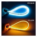 EBTOOLS 2Pcs Tira de luz de Se/ñal de Giro de Color Dual Tira de Luz de LED Flexible LED de Coche Azul LED 60 cm