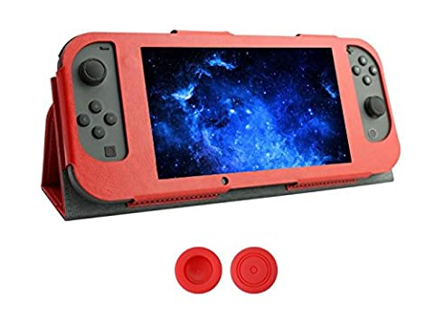 Chickwin Nintendo Switch Joy-Con Controlle Ultra Thin Leder Anti-Rutsch-Flip Case Cover Skins Schutzhülle + 2 Thumb Griffe (Rot)