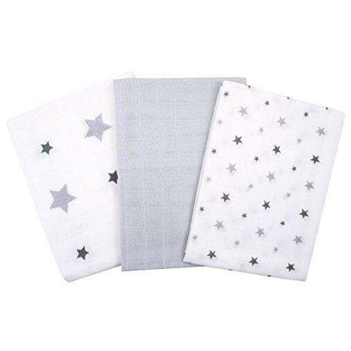 Babytücher 3er Pack Grau 100% Baumwolle Mulltuch Mullwindeln