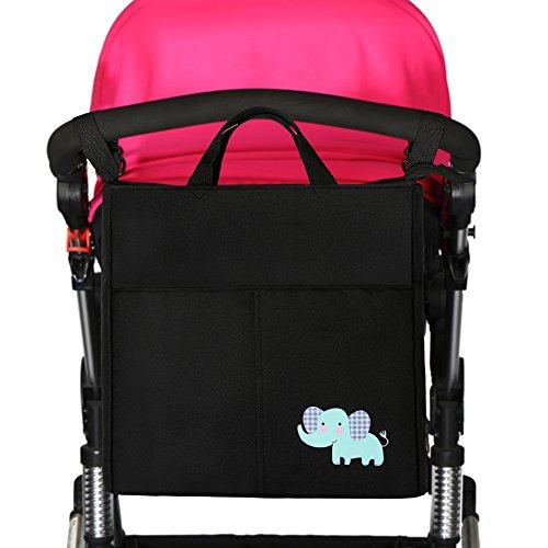 Preisvergleich Produktbild IntiPal Kinderwagen Organizer Tasche Wasserdichte Wickeltasche für Buggy (Schwarz mit Elefant)