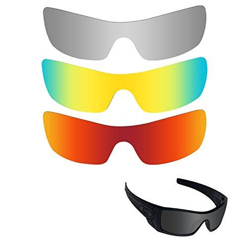 Fiskr Anti-Saltwater Polarisierte Ersatz Gläser für Oakley Batwolf 3Paar Pack, Metallic Silver & Fire Red & 24K Gold