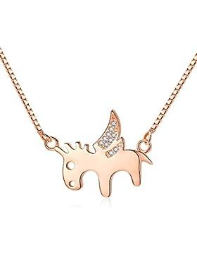 ONECK Halskette Pferd Rosegold Silber für Kinder und Jugendliche Venezianerkette 45cm