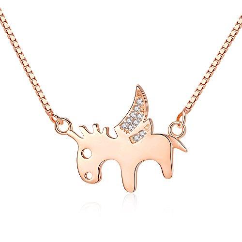 ONECK Kette Damen 925 Sterling Silber Rosegold Halskette mit Anhänger 5A Zikonia 45cm Schmuck Damen als Geschenk Exquisite Box (Pegasus)