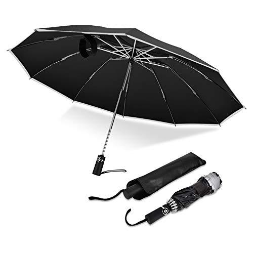 OTraki Regenschirm Taschenschirm Sturmfest mit 10 Rippen und Nachtreflektierende Streifen Stockschirm Auf-Zu-Automatik 210T Kompakt & Stabil UV Umbrella Windproof für Reisen & Business, Schwarz -