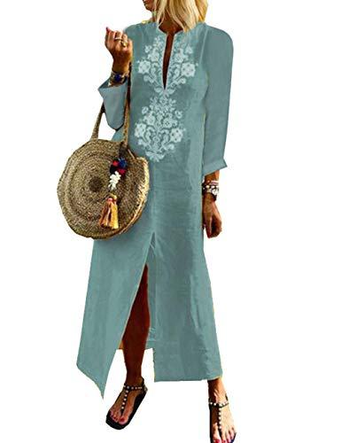 Hahaemma abiti da donna abito lungo abito lungo a maniche lunghe in cotone lungo in lino camicetta elegante abiti estivi casual larghi ladies plus size
