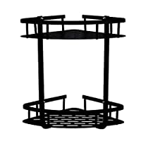 GERUIKE Shower Caddy Self Adhesive Bathroom Shelf Corner Shower Basket Kitchen Accessories Storage No Drilling Aluminum Black 2 Tier Triangle