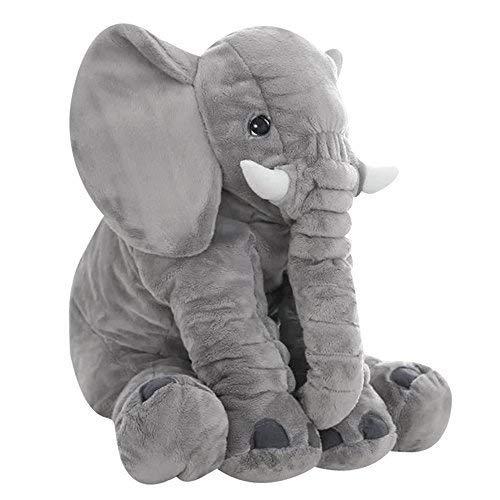 Marysa Baby Elefante Grande Posteriore Supporto Lombare Cuscini Peluche Letto Cuscino 61cm per per Bambini, Grigio
