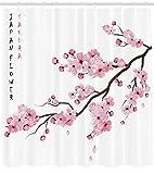 ABAKUHAUS Asiatique Rideau de Douche, Branches de Cerisier Japonais avec Fleurs au...