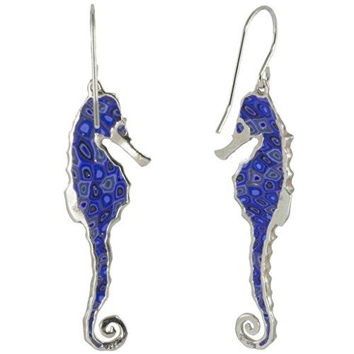 Boucles d'Oreille Hippocampe Pendantes - Bijoux Fait Main en Argent fin 925 et Fimo Bleu