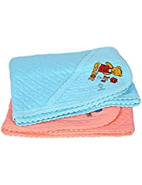 Sathiyas 100% Soft Cotton Baby Hooded Towels - Pack of 2 (Orange || Blue)