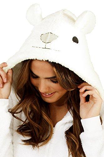 Tutina da donna, in pile, a forma di animale, morbida e calda, ideale come regalo di Natale, taglie: 36, 38, 40, 42, 44, 46, 48, 50 White Polar Bear
