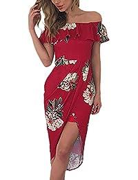 Vestidos Mujer Verano Moda Floreadas Con Volantes Vestido Tirantes Único Irregular Basic Irregular Slim Fit Paquete