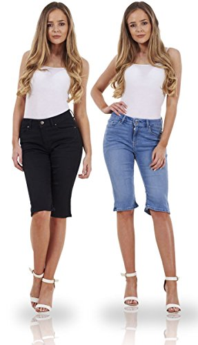 Ex Famous Store Ladies Denim Summer Holiday Womens Stretch Pockets Shorts