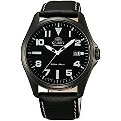 Orient Classic Men's Watch Automatic Black Date Leather Gun Colour FER2D001B0