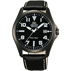 ORIENT Uhr Classic Automatik black Datum Leder gun color Herrenarmbanduhr FER2D001B0