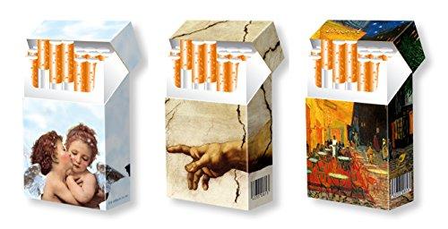 slipp overall - 3er SET - Designs: ENGEL + MICHELANGELO + VINCENT - hübsche Zigarettenschachtel Hüllen aus Karton - 3 Stk. komplette Überzieher mit Deckel - Standardgröße für die meisten L-Schachteln (näheres zur Größe s. Produktbeschreibung) -