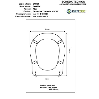 ACB/COLBAM Wood Toilet Seat with Polyester Coating for CONTEA AXA Contea Background Hinge Chrome