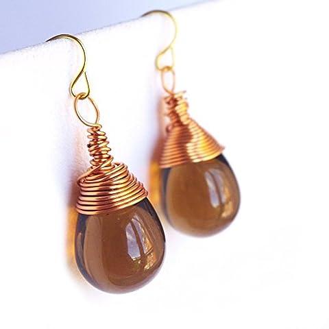 Teardrop Earrings Briolette Earrings Czech Glass Bead Drop Beaded Handmade Copper Wire Wrapped Girlfriend Gift for her Mother's day - 7