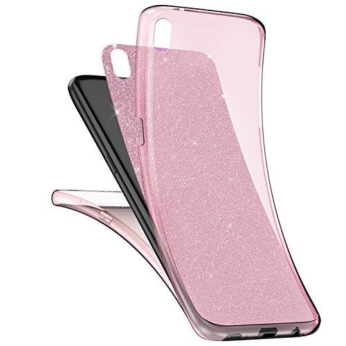 Surakey cover sony xperia z5 mini integrale, custodia silicone trasparente con brillantini glitter per sony xperia z5 mini 360 gradi protezione totale davanti e dietro sottile morbida cover, rosa