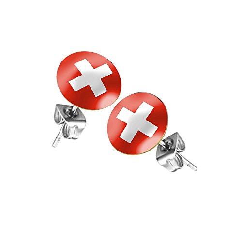 Taffstyle® Ohrstecker Ohrringe Stecker Fußball Fanartikel WM & EM Schweiz