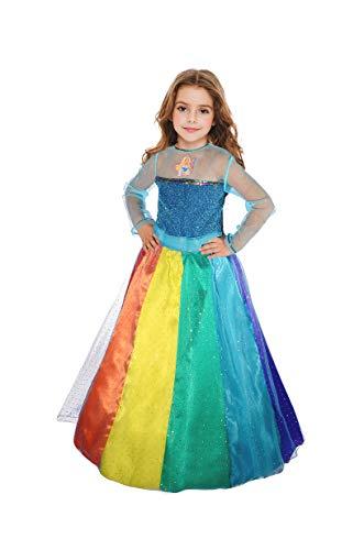 Ciao Barbie Prinzessin Regenbogen-Kostüm für Mädchen, 8-10 Jahre, mehrfarbig, - Regenbogen Prinzessin Kind Kostüm