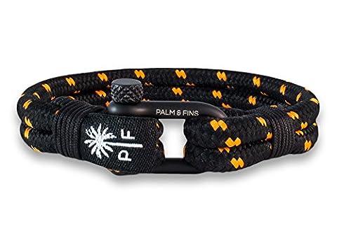 """PALM & FINS """"Double Six"""" Herren-Armband Schwarz/Orange aus hochwertigem Nylon und rostfreiem Edelstahl (19, Schwarz)"""