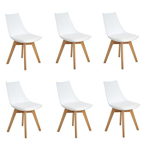 EGGREE Chaises Scandinaves Lot de 6 Chaises Salle à Manger avec Pieds en Bois de Hêtre Massif, Blanc