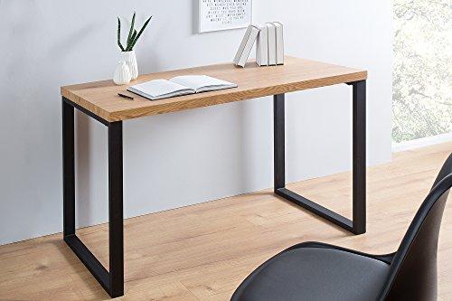 Eiche Furnier Matt (DuNord Design Schreibtisch Bürotisch 120cm Eiche Optik schwarz Tisch Kommode Laptoptisch Schminktisch Bürotisch FOKUS)