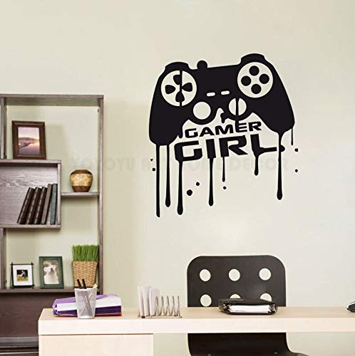fancjj Ragazza Room Gamer Stickers murali Gamer Girl Quotes Controller Video Giochi Wall Sticker Vinile Arte Murale per La Ragazza Room Poster 57X62CM