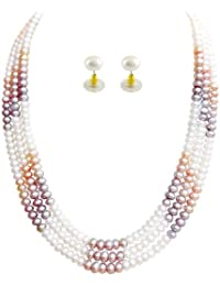 Trendy Souk ---Amazing Peach and White color combo --- 3 Strings, Real Fresh Water Hyderabadi, Necklace Set (Length 17- 18 inches)