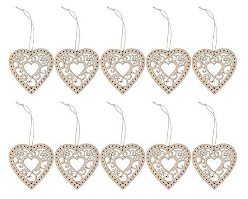 Abenily Kleine und praktische Lebensgegenstände 10Pcs hölzerne Herzen hängen hölzerne Hohle Herzen rustikale Hochzeit Dekoration Anhänger