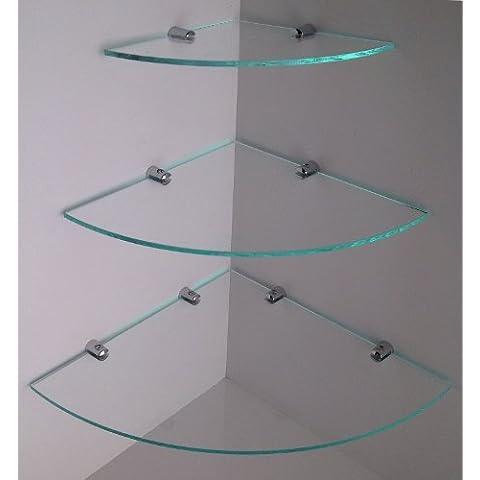 Mensole angolari, misura grande, in vetro, staffe con finitura cromata, a effetto cascata