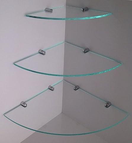 CASCADING GLASS EFFECT ACRYLIC CORNER SHELVES WITH CHROME FIXING BRACKETS