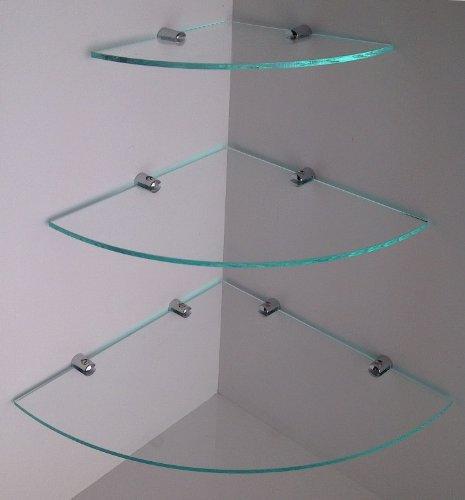 Mensole angolari a effetto cascata, in plexiglas, con staffe cromate