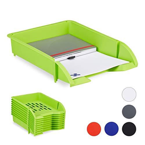 Relaxdays Ablagefächer stapelbar, 10er Set, DIN A4 Papier, Briefe, Büro, Schreibtisch, Dokumentenablage Kunststoff, grün