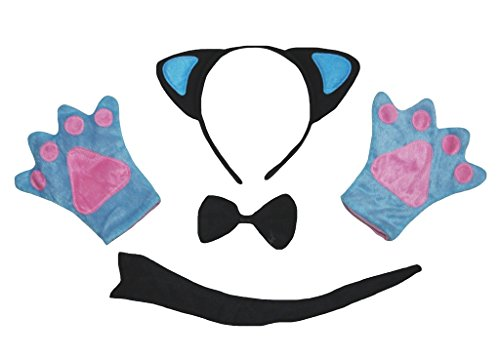 Petitebelle Black Blue Cat Headband Bowtie Tail Glove 4pc Costume for Kid (One ()