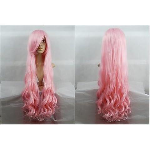 OOFAY JF® venta caliente de 40 pulgadas de fibra de alta temperatura de largo rizado cosplay melocotón rosado Bang lado peluca de vestuario