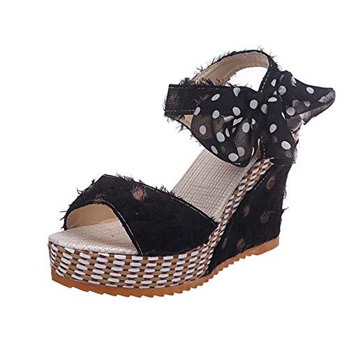 PINGXIANNV Frauen Sandalen Dot Bowknot Design Plattform Keil Sandalen Weibliche Freizeitschuhe Damenmode Knöchelriemen Open Toe Schuhe Dot Keil