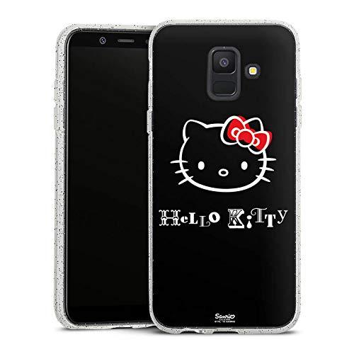 DeinDesign Glitzer Hülle kompatibel mit Samsung Galaxy A6 (2018) Silikon Case Glänzend Schutzhülle Hello Kitty Merchandise Fanartikel Love