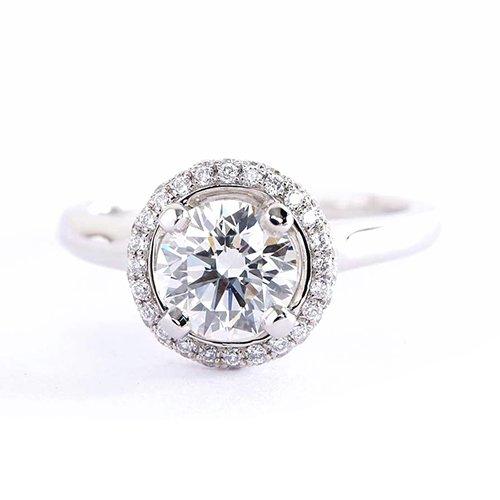 Verlobungsring 18 Karat Weißgold 1,10 Karat SI2 H Diamant Brillantschliff Vintage Micro GIA zertifiziert
