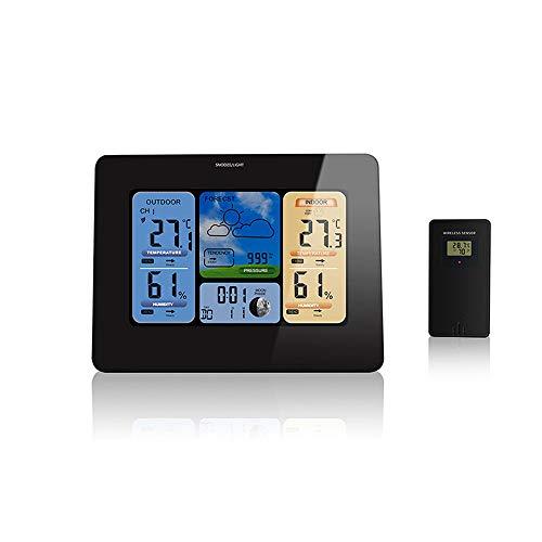TIB Heyne Drahtlose Wetterstation mit Indoor-Outdoor Wireless Sensor und USB Ladehafen-E04 Weather Station Clock mit farbem Ikonenvorher-Temperatur mit Alarmfeuchtigkeit