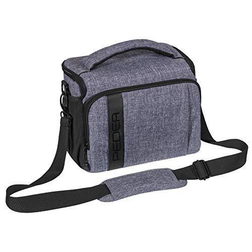 """PEDEA DSLR-Kameratasche \""""Fashion\"""" Fototasche für Spiegelreflexkameras mit wasserdichtem Regenschutz, Tragegurt und Zubehörfächern, Gr. XL grau"""